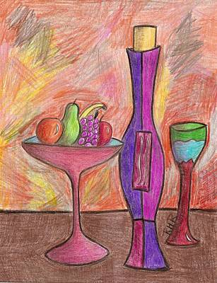 Glass Bottle Drawing - Party Of One by Ray Ratzlaff