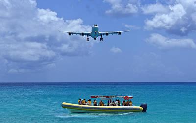 Passenger Airplane Overflies Boat. Art Print by Fernando Barozza