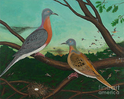 Passenger Pigeon Evening Flight Art Print