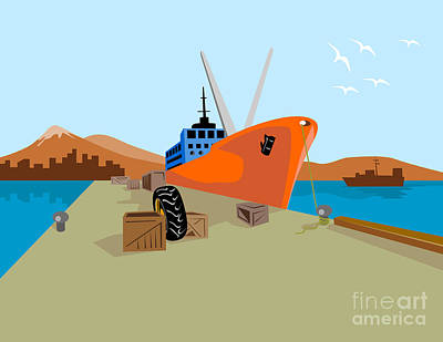 Pier Digital Art - Passenger Ship Ferry Boat Anchor Retro by Aloysius Patrimonio