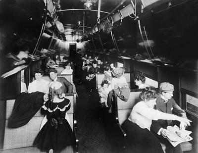Passengers In An American Pullman Art Print by Everett