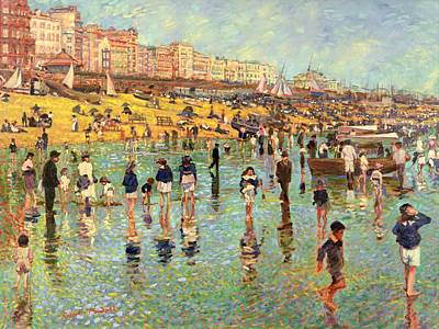 Water Play Painting - Passing Time On Brighton Beach by Robert Tyndall