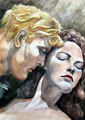 Dressing Room Painting - Passionate Embrace by Hanne Lore Koehler