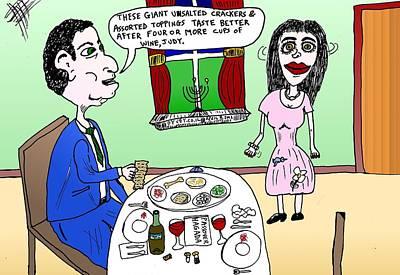 Passover Seder Cartoon Original by Yasha Harari