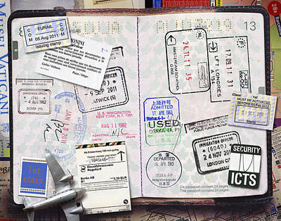 Rubber Stamps Photograph - Passport With Stamps by Andrew Kolb