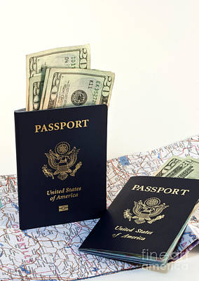 Foreign Photograph - Passports With Map And Money by Blink Images