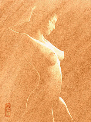 Chiaroscuro Digital Art - Pastel Chiaroscuro Nude by Hakon Soreide