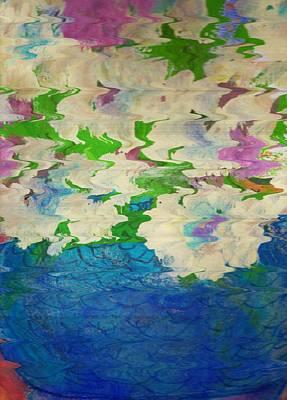 Pastel Flowers And Blue Vase Art Print by Anne-Elizabeth Whiteway