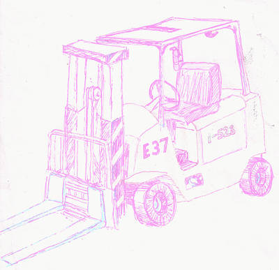 Corey Drawing - Pastel Forklift by Corey Finney
