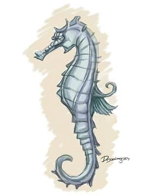 Pastel Seahorse Original by Mario Domingues
