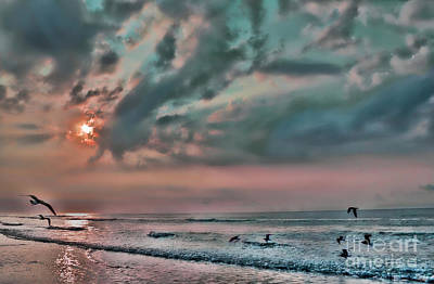Photograph - Pastel Sky With Birds by Jeff Breiman