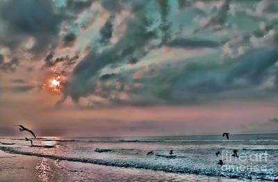 Jeff Digital Art - Pastel Sky With Birds by Jeff Breiman