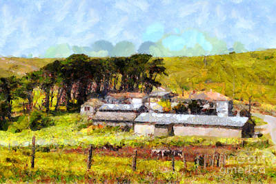Pastoral Cattle Ranch Landscape  . 7d16047 Art Print
