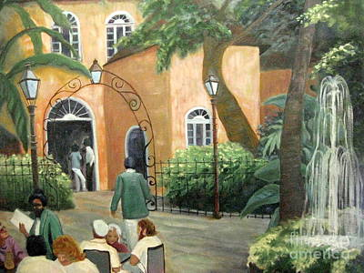 New Orleans Oil Painting - Pat O Brian's Restaurant by Gretchen Allen