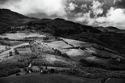 Patches Of Light Over Hills In Chianti, Tuscany Art Print