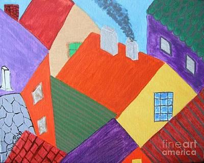 Patchwork Rooftops Original by Jeannie Atwater Jordan Allen