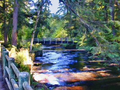 Pathway Digital Art - Path Along A Scenic Creek by Elaine Plesser