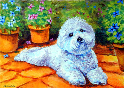 Bichon Frise Dog Painting - Patio Pal - Bichon Frise by Lyn Cook