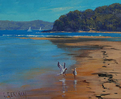 Seagull Wall Art - Painting - Patonga Beach Australia by Graham Gercken