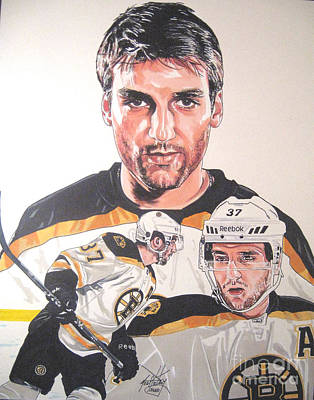 Boston Bruins Drawing - Patrice Bergeron Boston Bruins by Neal Portnoy