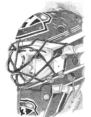 Montreal Buildings Drawing - Patrick Roy Portrait by Marty Rice