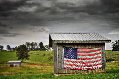 Patriotic Shed Art Print by Kathy Jennings