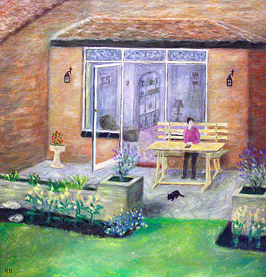 Lounge Painting - Patsy On The Patio by Ronald Haber