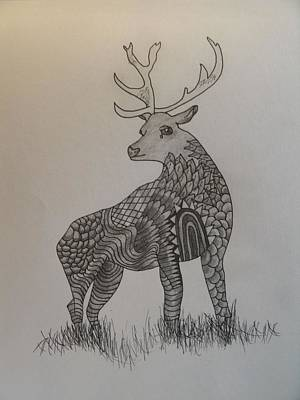 Drawing - Pattern Deer by Samantha L