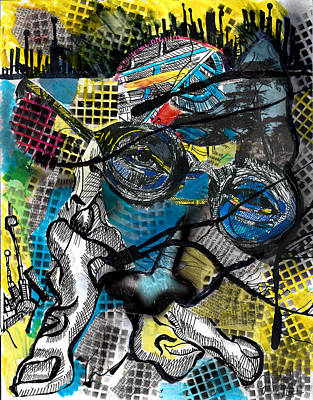 Abstract Collage Drawing - Patterns  by Jon Baldwin  Art