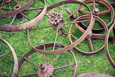 Photograph - Patterns With Old Pulleys by Steve McKinzie