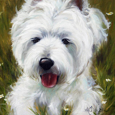 Westie Painting - Patton by Mary Sparrow