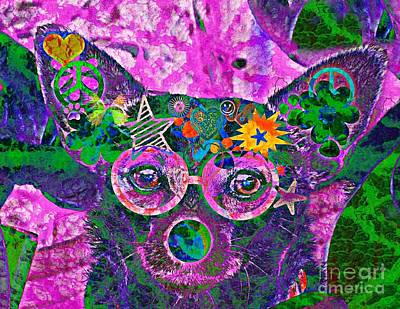 Peace And Love Chihuahua Art Print by Kevin Moore