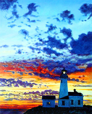 Painting - Peace At The Lighthouse by John Lautermilch
