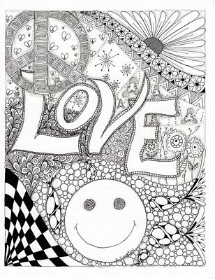 Peace Love And Happiness Drawing By Paula Dickerhoff