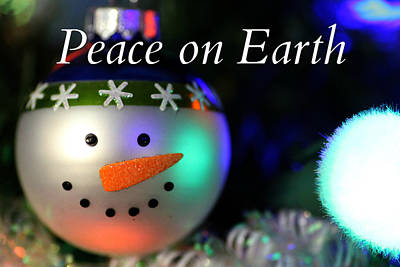 Photograph - Peace On Earth Snowman Ornament by Mark J Seefeldt