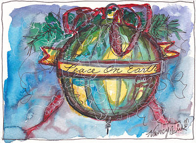 Peace On Earth Watercolor Original by Michele Hollister - for Nancy Asbell
