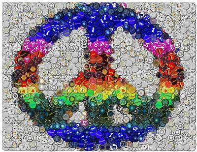 Virgo Mixed Media - Peace Sign Zodiac Mosaic by Paul Van Scott