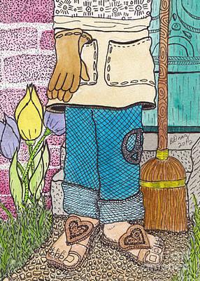 Peace Drawing - Peaceful Gardener by Barbra Drasby