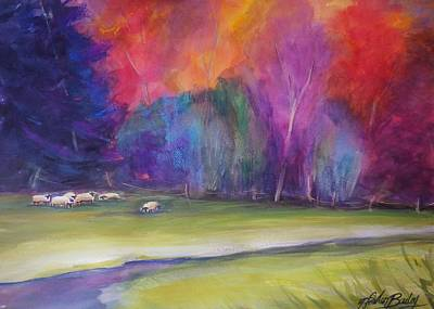 Peaceful Pastoral Sheep Art Print by Therese Fowler-Bailey