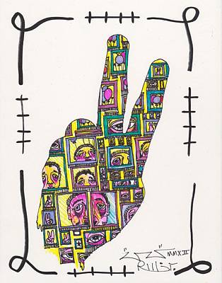 My Own Hands Drawing - Peace...outside Looking In by Robert Wolverton Jr