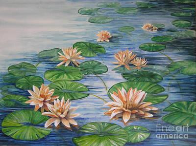 Peach Water Lilies Original by Nancy Yarnall von Halle