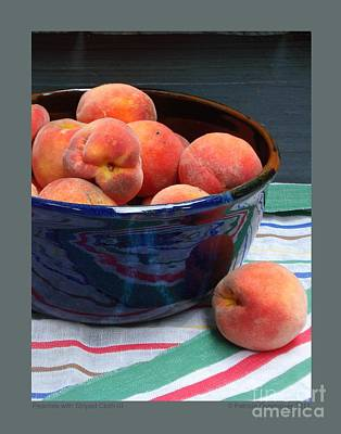 Peaches With Striped Cloth-iii Art Print by Patricia Overmoyer