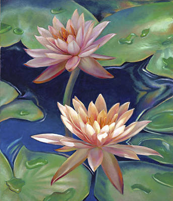 Art Print featuring the painting Peachy Pink Nymphaea Water Lilies by Nancy Tilles