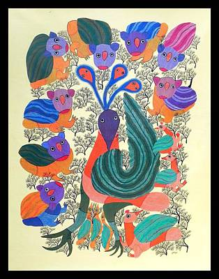 Jangarh Kalam Painting - Peacock by Durga Bai Vyam