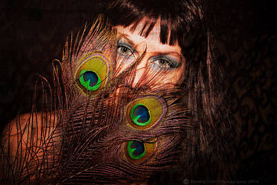 Photograph - Peacock Feathers Textured by Beverly Cash