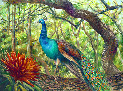 Painting - Peacock Perched by Nancy Tilles