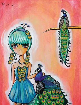 Manga Painting - Peacock Princess by Jen Kiddo