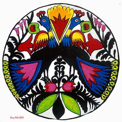 Peacock Tree Polish Folk Art Art Print