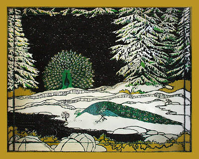 Santa Cruz Batik Artists Tapestry - Textile - Peacocks In The Snow by Alexandra  Sanders