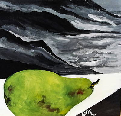 Painting - Pear And Sea by Diana Kaye Obe